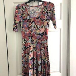 LulaRoe Nicole floral print a-line dress